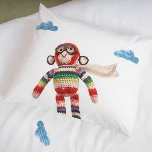 Snurk Airplane Monkey dekbedovertrek-200x200/220 cm