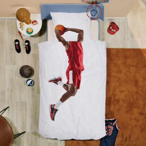 Snurk Basketball Star Red dekbedovertrek-140x200/220 cm