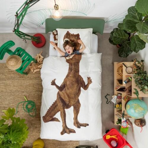 Snurk Dino Brown dekbedovertrek-240x200/220 cm