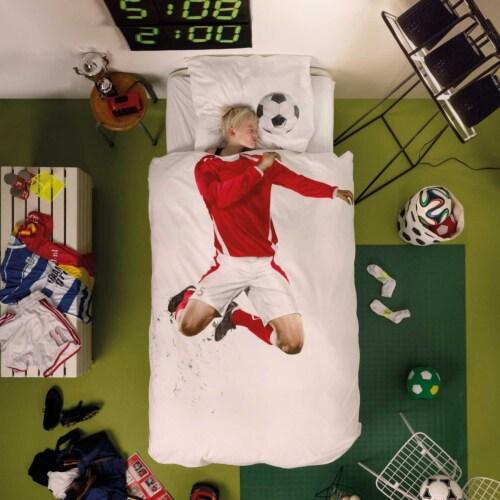 Snurk Soccer Champ rood dekbedovertrek-140x200/220 cm