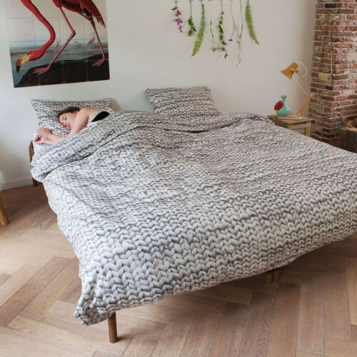 Snurk Twirre Cool Grey FLANEL dekbedovertrek-140x200/220 cm