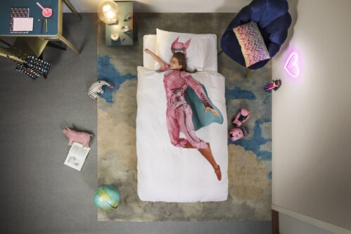 Snurk Superhero Pink dekbedovertrek-140x200/220 cm